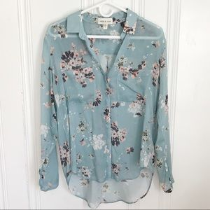 Cloth and Stone Blue Floral Button-down S